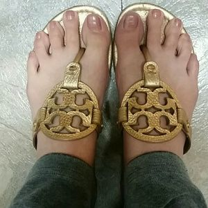 Miller Sandals in Gold by Tory Burch